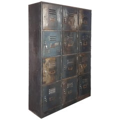 Vintage Industrial 12 Compartment Stripped Steel School Locker