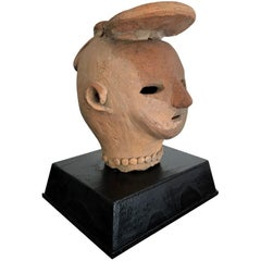 Antique Japanese Terracotta Haniwa Figure Head