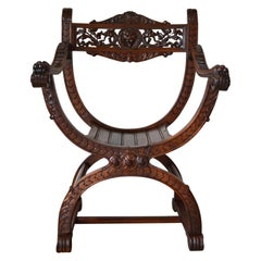 French Carved Walnut Armchair with Lion Heads, Renaissance Revival, 1880s