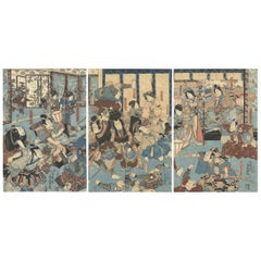 Original Japanese Woodblock Print, 19th Century, Toyokuni III Utagawa, Samurai