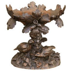Black Forest 1880s Swiss Compote with Hand Carved Birds, Tree and Foliage