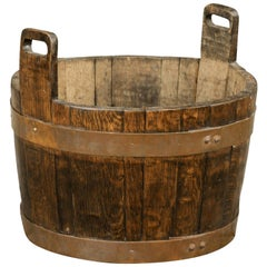 English Rustic Oak Bucket with Pierced Handles and Copper Accents, circa 1890