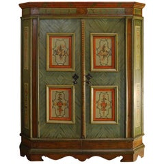19th Century Hand Painted Austrian Two-Door Wedding Cabinet