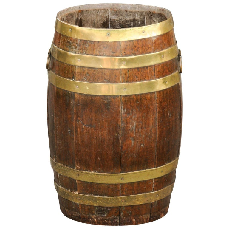 Tall Rustic English Oval Oak Barrel With Brass Braces And Handles