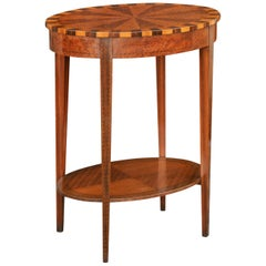 French Oval Walnut Side Table with Inlaid Radiating Motifs and Lower Shelf 1860s