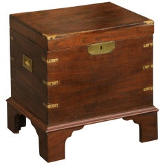 English 1890s Campaign Mahogany Cellarette with Brass Accents and Bracket Feet