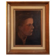 Late 19th Century Impressionist Portrait of a Lady Oil Painting on Canvas.