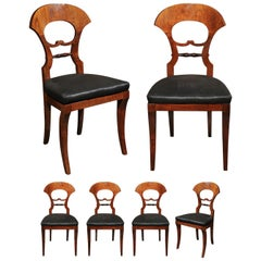 Set of Six Walnut 1840s Biedermeier Austrian Dining Room Chairs with Fan Backs