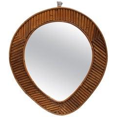 French Rattan Tear Drop Mirror, circa 1960s