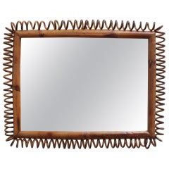 Vintage Italian Rattan and Bamboo Rectangular Mirror, circa 1960s