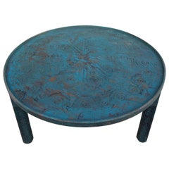 Moroccan Hand Carved Wooden Coffee Table, Turquoise Round