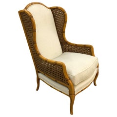 Wonderful Pair of Oversized Rattan Bamboo Carved Wood English Wing Armchairs