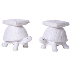 Pair of Midcentury Glazed Terra Cotta Turtle Garden Seats or Stools