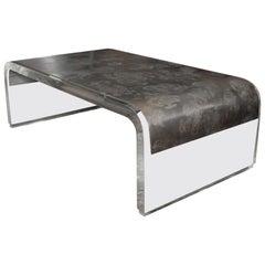 Wonderful Mid-Century Modern Lucite Brushed Nickel Steel Coffee Cocktail Table