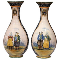 Pair of 19th Century French Hand Painted Faience Vases Signed Henriot Quimper