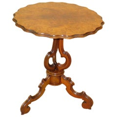 Burr Walnut 19th Century French Antique Tripod Table