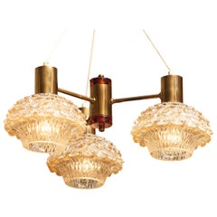 1950s, Brass and Glass Chandelier by Carl Fagerlund for Orrefors