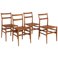 4 'Leggera' Ash and Cane Dining Chair by Gio Ponti