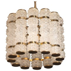 1960s, Brass and Crystal Cylinder Chandelier by Tyringe for Orrefors, Sweden