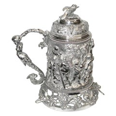 19th Century Silver Plated Quart Lidded Tankard, circa 1870
