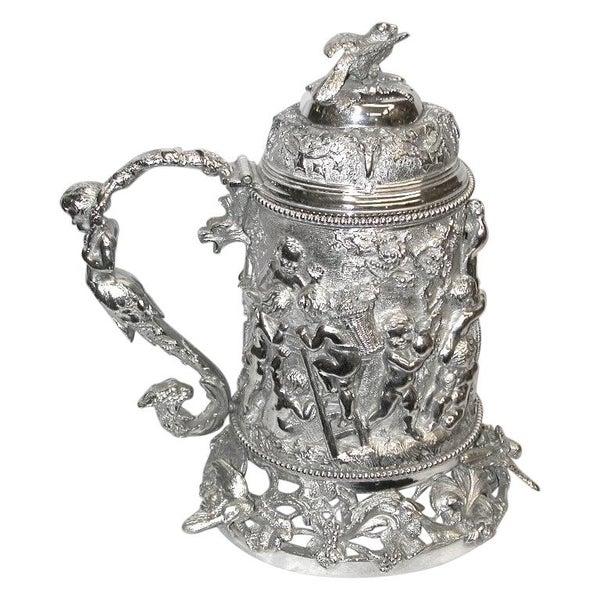 19th Century Silver Plated Quart Lidded Tankard, circa 1870