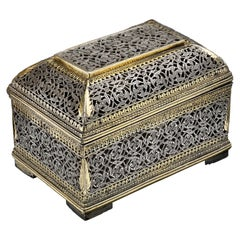 Little Indo Portuguese Silver and Parcel Gilt Box, 17th Century Portugal