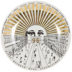 Piero Fornasetti White and Golden Calendar Plate, 1996