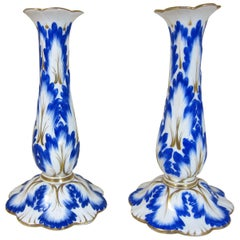 Pair of English Porcelain Candlesticks Decorated with Blue and Gilt Leaves