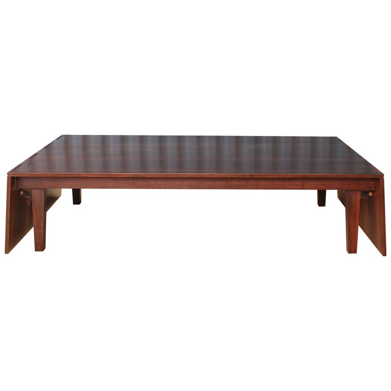 Solid Walnut Convertible Table, 1970s, USA For Sale