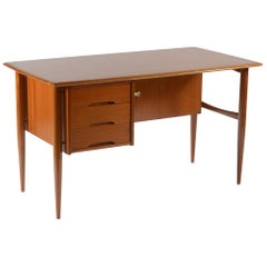 Mid-Century Modern Italian Writing Desk with Drawers and Bookcase, 1950s