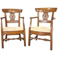 18th Century Italian Louis XVI Cherrywood Pair of Armchairs with Straw Seat