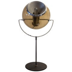 Frank Ligtelijn for RAAK Smoked Glass and Chrome Table Lamp