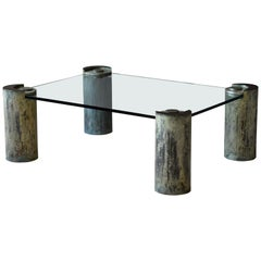 "Karl Springer, ""Sculpture Leg"" Coffee Table, Glass, Patinated Brass, Studio"