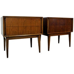 Pair of Mid-Century Modern 2-Drawer Walnut Nightstands