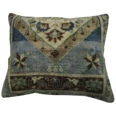 Vintage Turkish Oushak Blue Gray Green Rug Pillow
