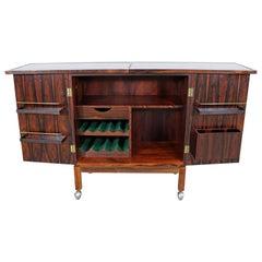 Danish Modern Torbjorn Afdal for Mellemstrand Rosewood Bar Cabinet on Wheels