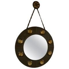 Wonderful Brown Leather Antique Round Mirror Straps Art Glass Gold Cabochons
