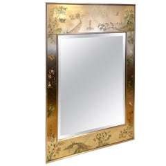 LaBarge La Barge Eglomise Reverse Painted Chinoiserie Wall Mirror