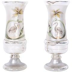 Pair of Antique Mercury Glass Vases