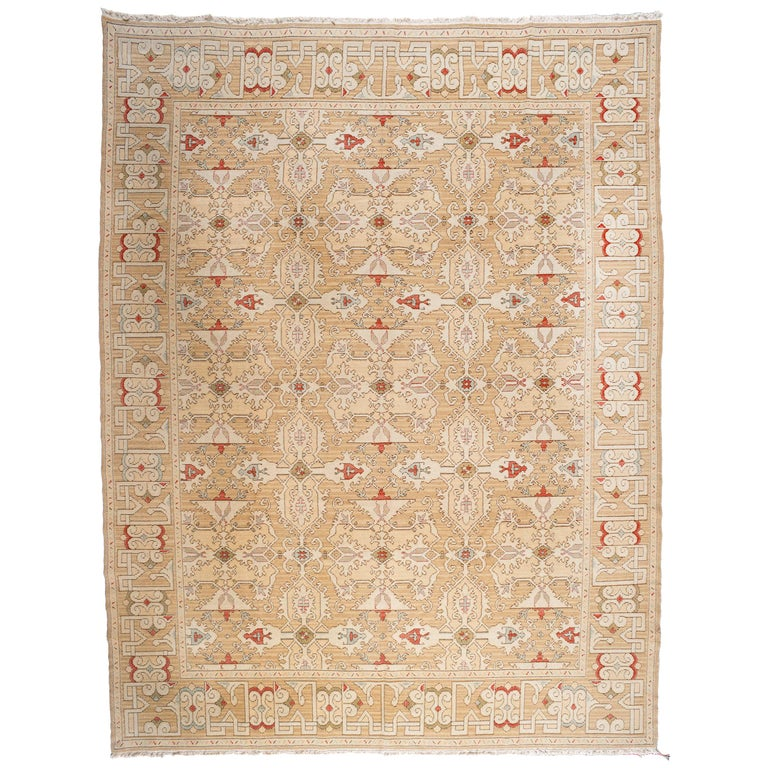 Gold, Red and Green Pattern Rug For Sale