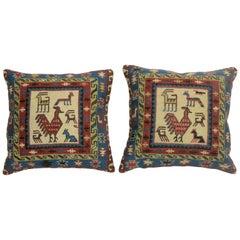 Pair of Pictorial Kilim Pillows