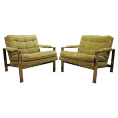 Pair of Milo Baughman Lounge Chairs by Thayer Coggin Chrome Flat Bar