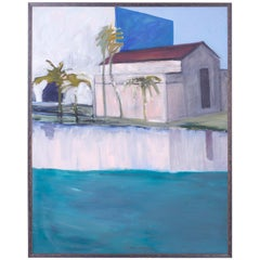 Modernist Tropical Oil Painting on Canvas