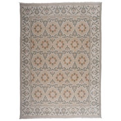 Floral Medallions Rug with Green and Brown