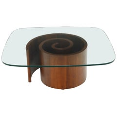 Vladimir Kagan Walnut and Glass Snail Rounded Rectangle Coffee Table