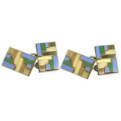 Art Deco Rolled Gold and Enamel Gents Cufflinks