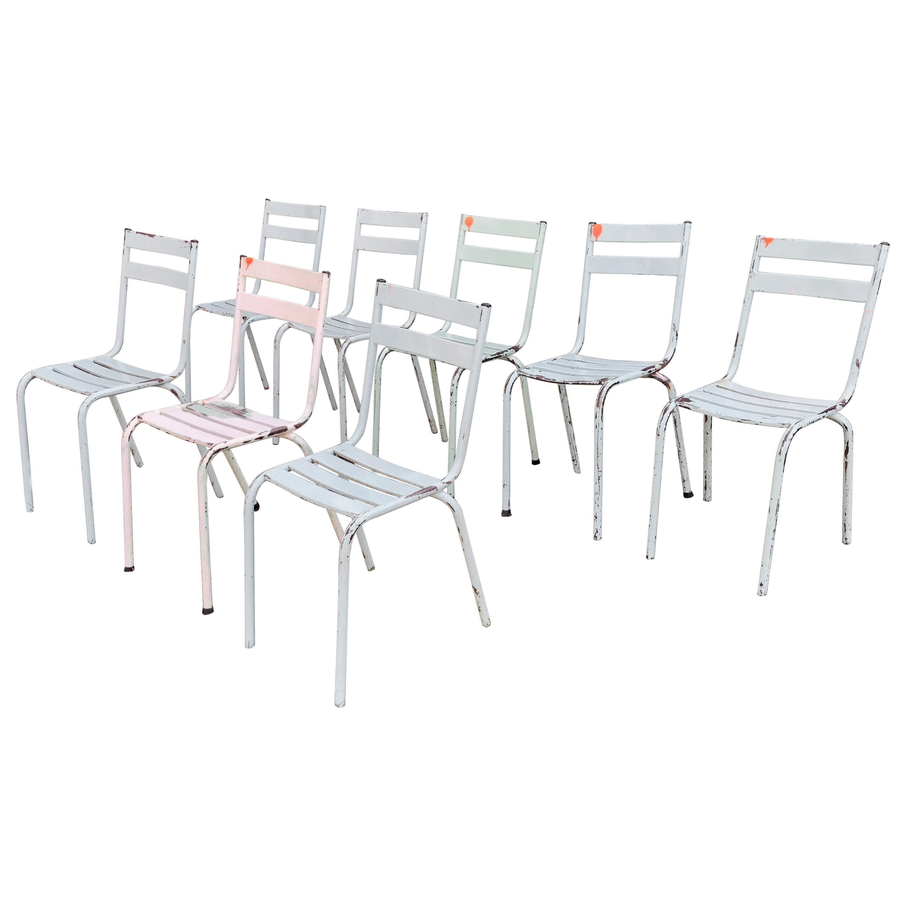 Vintage Set Of Eight French Steel Bistro Chairs For Sale