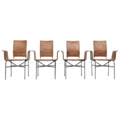 Matteo Grassi Leather Wing Chairs