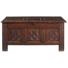 Charles II Oak Paneled Chest, Probably Lancashire