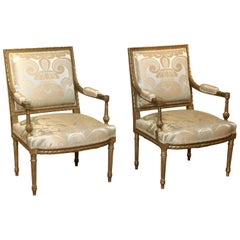Pair of Louis XVI Style Fauteuils with Silk Upholstery, 19th Century